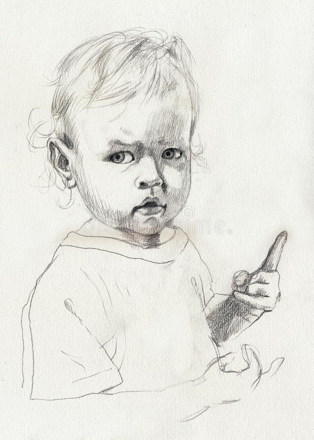портрет s ребенка иллюстрация штока
