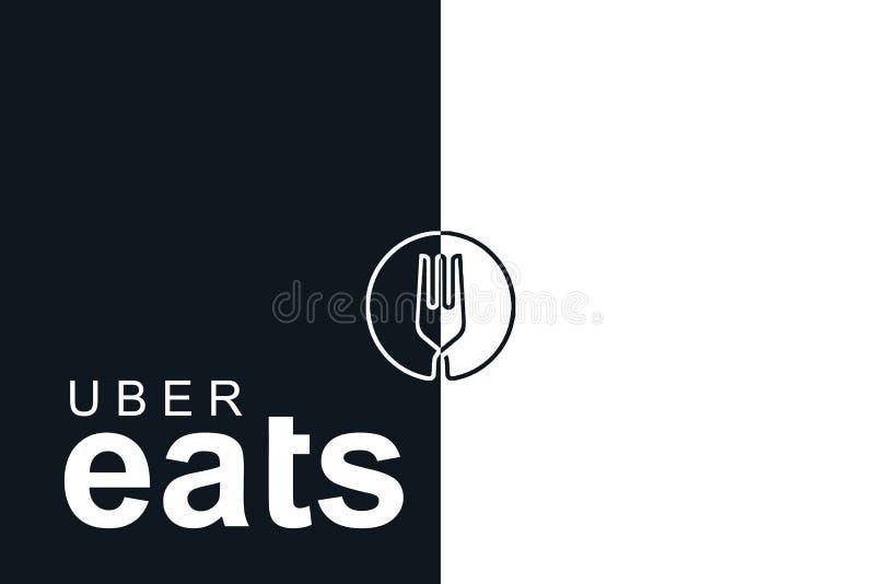 Португалия, Лиссабон, 16-ое июня 2018: иллюстрация UBER ест логотип Популярная фирма для поставки еды дома и иллюстрация штока