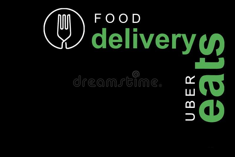 Португалия, Лиссабон, 16-ое июня 2018: иллюстрация UBER ест логотип Популярная фирма для поставки еды дома и иллюстрация вектора