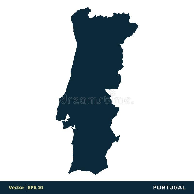 Португалия - страны Европы составляют карту дизайн иллюстрации шаблона значка вектора r иллюстрация вектора