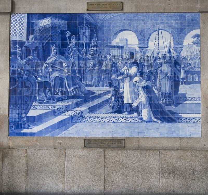 Португалия, porto: старый железнодорожный вокзал, azulejos стоковая фотография rf