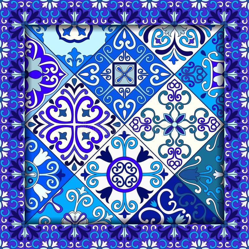 Португалка кроет безшовный вектор черепицей картины с голубыми и белыми орнаментами Мотивы Talavera, azulejo, мексиканца, испанск иллюстрация вектора