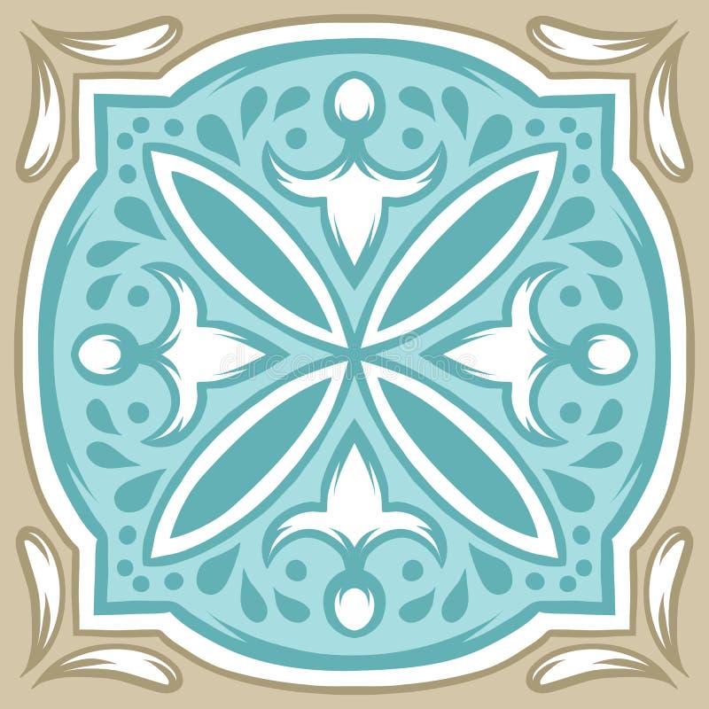 Португальская картина керамической плитки azulejo иллюстрация вектора