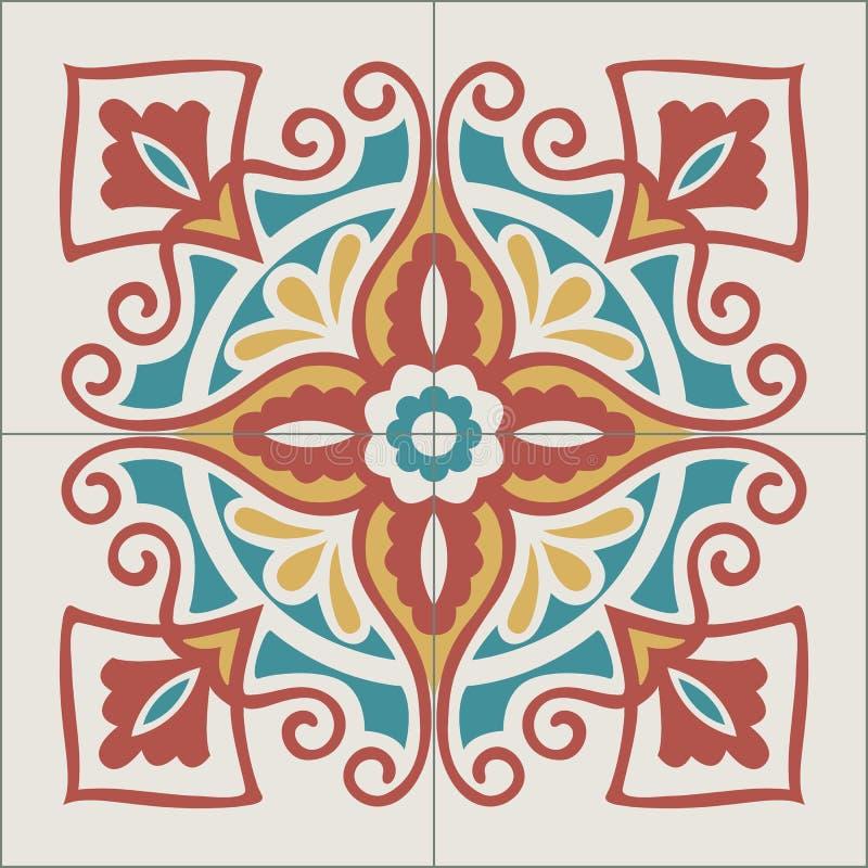 Португальская картина плиток Винтажная предпосылка - викторианское керамическое иллюстрация вектора