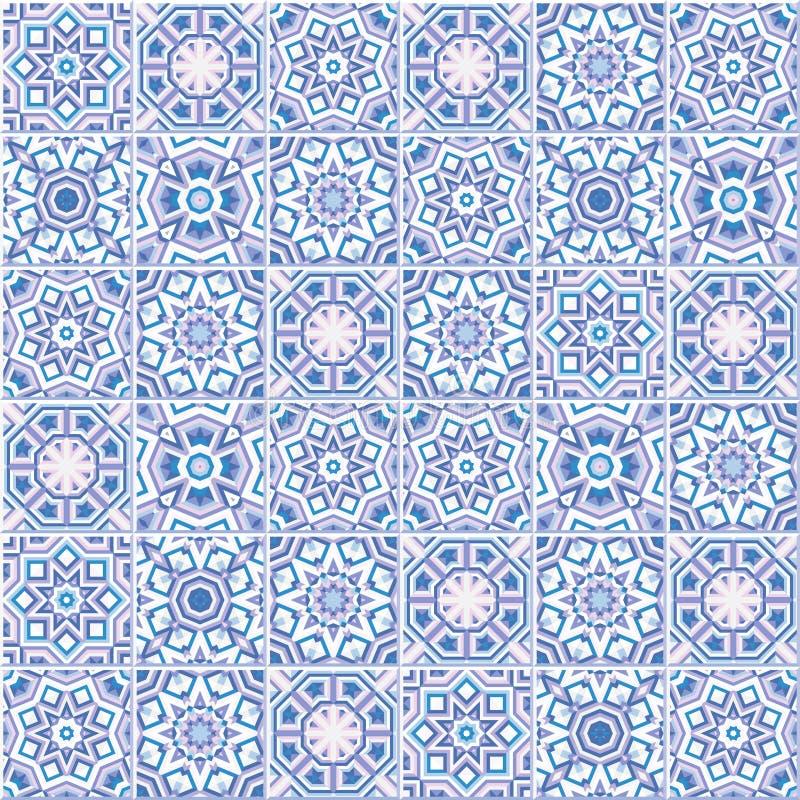 Португальские плитки пола конструируют, безшовная картина azulejo иллюстрация штока
