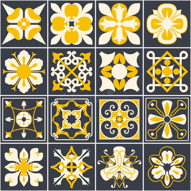 португальские плитки Справочная информация Среднеземноморской стиль Multicolor дизайн иллюстрация вектора