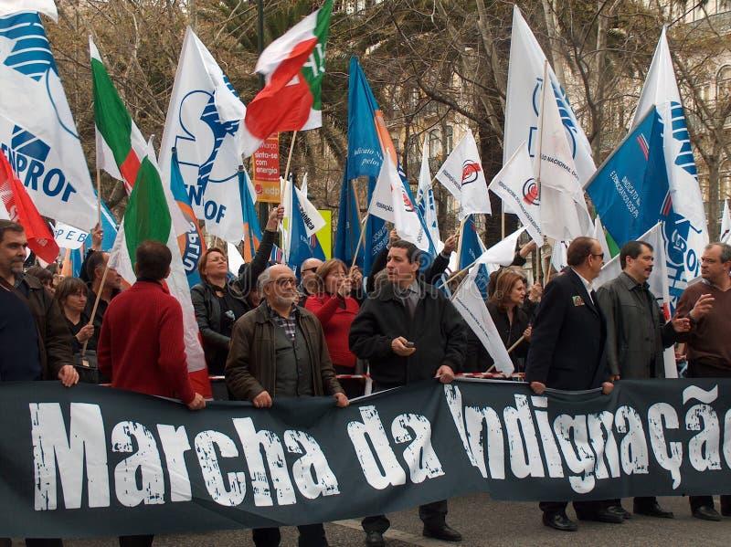 португальские учителя протеста стоковые изображения rf
