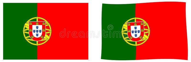 Португальский флаг Португалии республики Простой и немножко развевающ иллюстрация штока