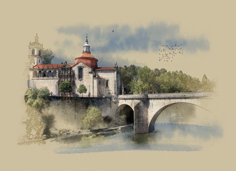 Португалия, монастырь Sao Goncalo в Amarante, эскизе акварели иллюстрация штока