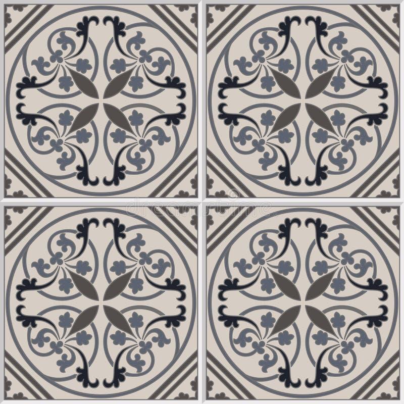 Португалка кроет безшовную картину черепицей Винтажная предпосылка - керамическая плитка в векторе иллюстрация штока