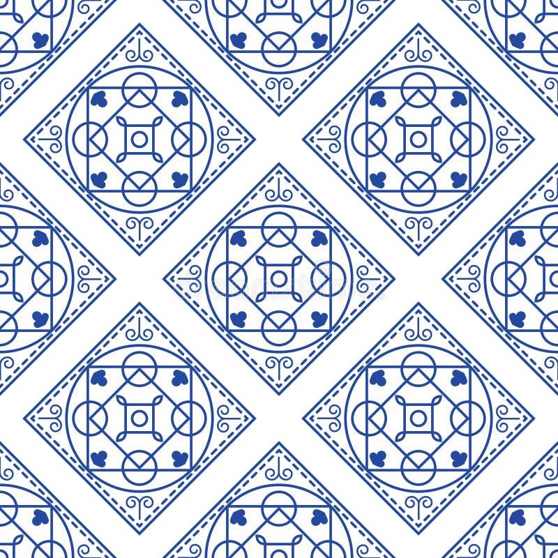 Португальская голубая и белая среднеземноморская безшовная картина плитки иллюстрация вектора