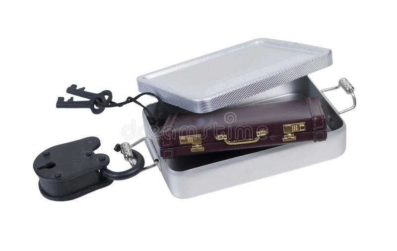 Портфель в локере олова с Padlock и ключами стоковое изображение