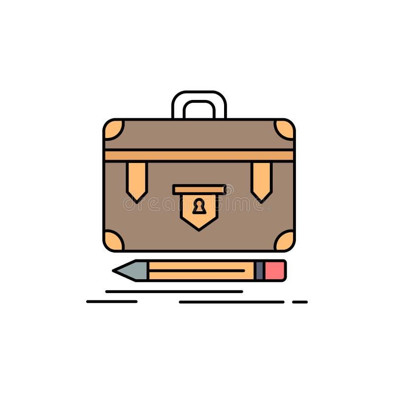 портфель, дело, финансовое, управление, вектор значка цвета портфолио плоский бесплатная иллюстрация