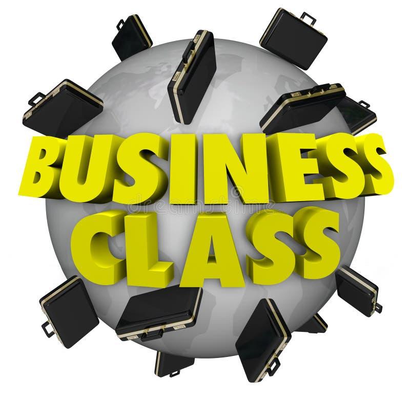 Портфели предпринимательского класса вокруг полета перемещения первого класса мира иллюстрация штока