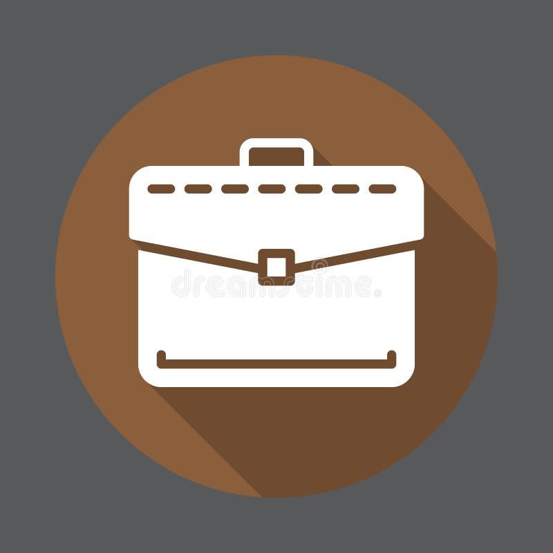 Портфель, значок портфолио дела плоский Круглая красочная кнопка, круговой знак вектора с длинным влиянием тени бесплатная иллюстрация
