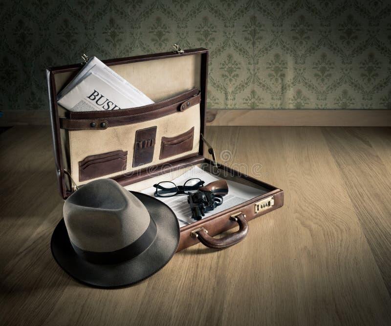 Портфель сыщика винтажный стоковые изображения rf