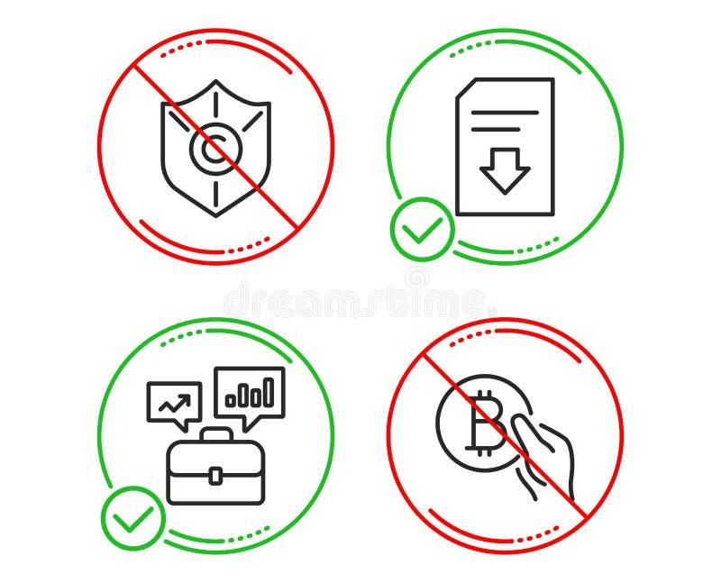 Портфолио дела, файл охраны авторского права и загрузки набор значков Знак оплаты Bitcoin r иллюстрация вектора