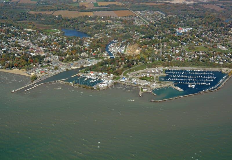 Порт Дувр Онтарио, воздушное стоковое фото rf