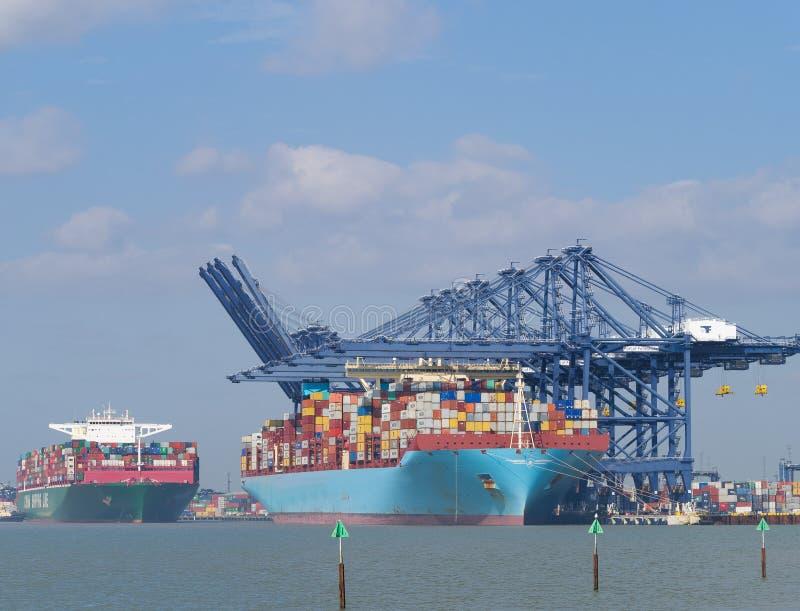 Порт контейнеровоза состыкованного felixstowe стоковые фотографии rf