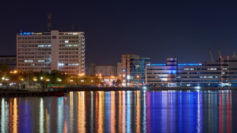 Порт ночи Novorossiysk Чёрного моря стоковое фото rf