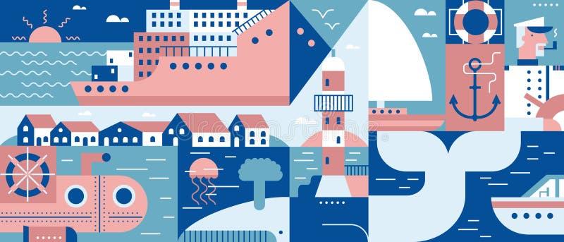 Порт образа жизни моря и предпосылка города иллюстрация штока