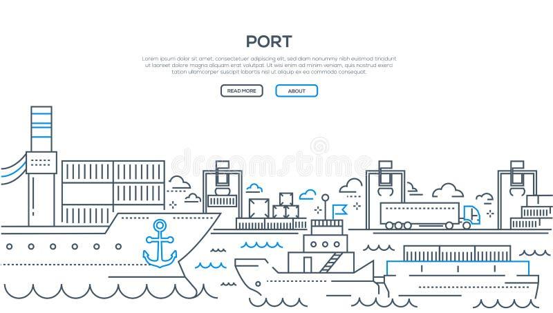 Порт - современная линия иллюстрация стиля дизайна бесплатная иллюстрация