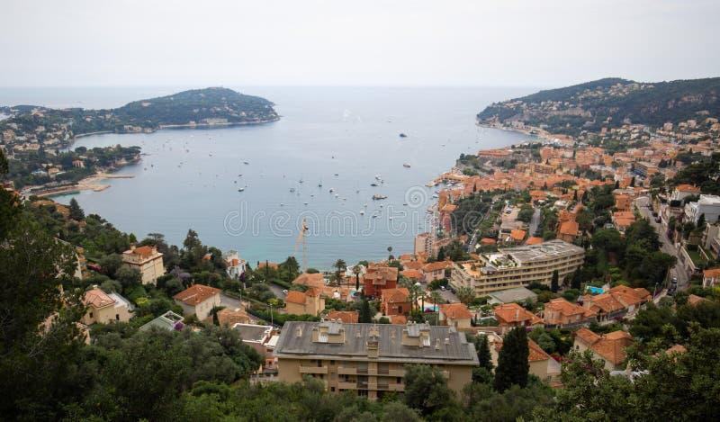 Порт увиденный от Villefranche-sur-Mer, Франции, французской ривьеры, Cote d'Azur стоковое фото rf