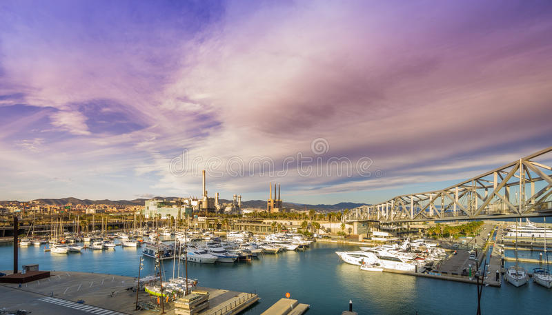 порт форума barcelona стоковая фотография rf