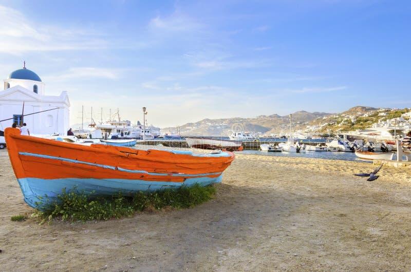 Порт Chora, Mykonos, Греция стоковые фотографии rf