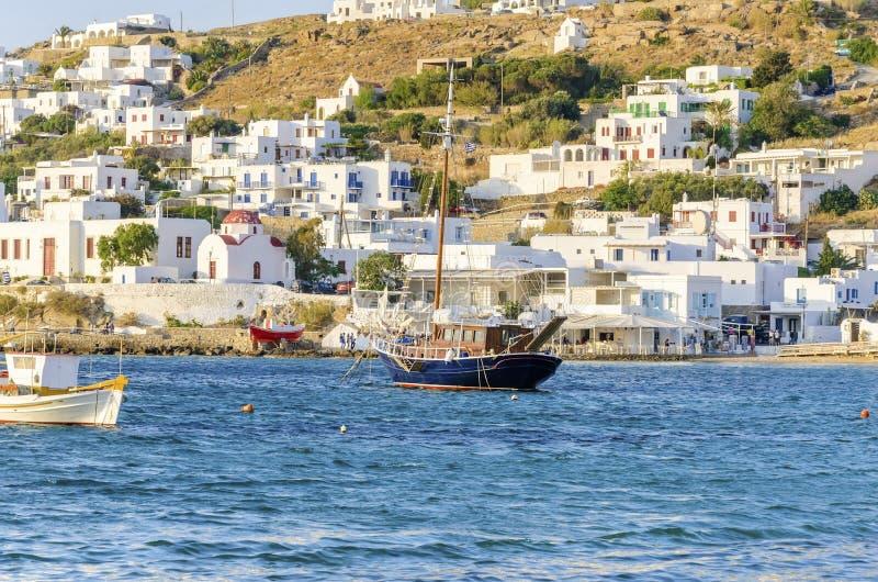 Порт Chora, Mykonos, Греция стоковые фото