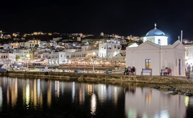 Порт Chora, Mykonos, Греция стоковое фото rf