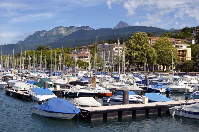порт les Франции bains evian стоковые фотографии rf