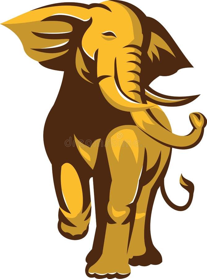 Поручать слона Bull африканца ретро иллюстрация штока