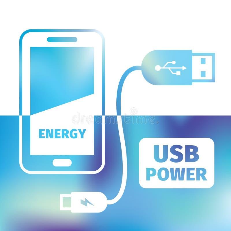 Поручая мобильный телефон - соединение USB - перезаряжать энергию иллюстрация штока