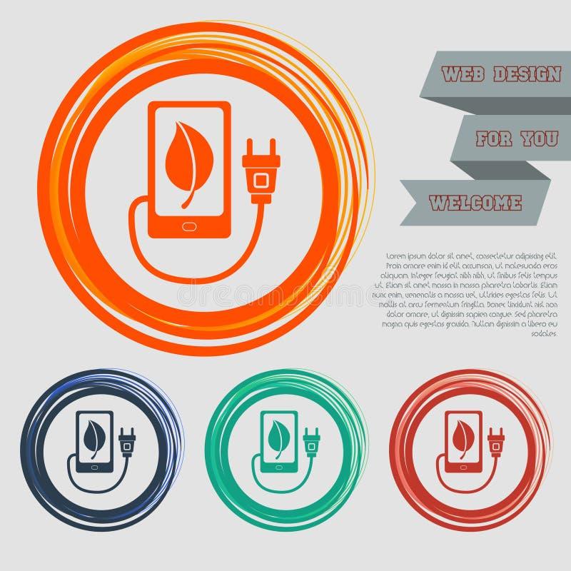 Поручите силу eco, кабель usb соединяет к значку телефона на красных, голубых, зеленых, оранжевых кнопках для вашего вебсайта и о иллюстрация вектора