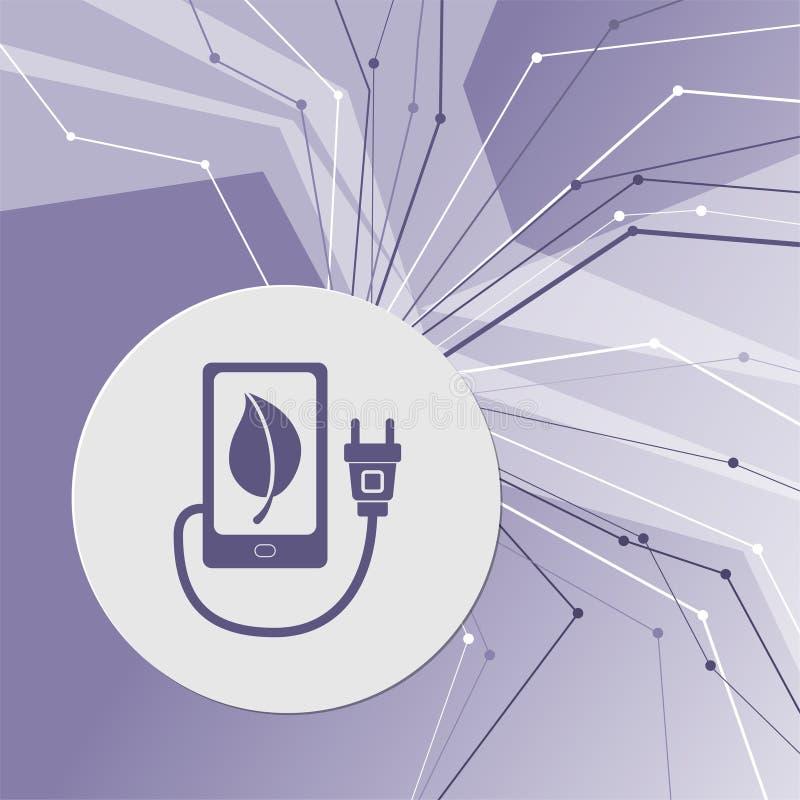 Поручите силу eco, кабель usb соединяет к значку телефона на фиолетовой абстрактной современной предпосылке Линии во всех направл бесплатная иллюстрация