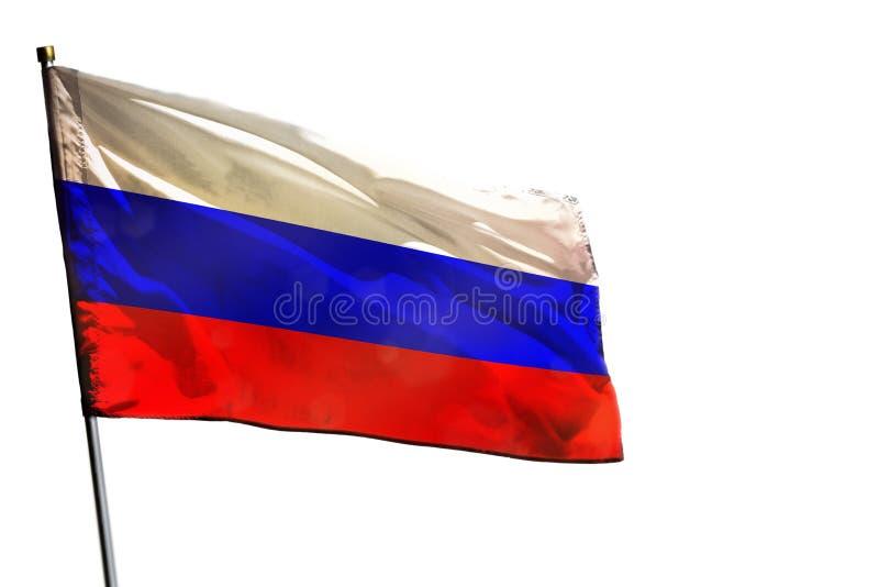 Порхая флаг России на ясной белой изолированной предпосылке стоковое фото rf