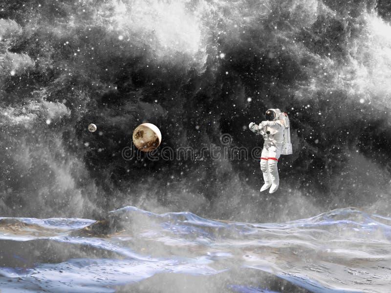 Посадка астронавта на планете Космонавт исследовать неизвестную планету стоковое изображение