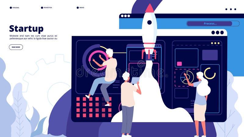 Посадка запуска Ракета космического корабля старта людей успешная, проект нового дела начала новаторский Вектор приложения запуск бесплатная иллюстрация