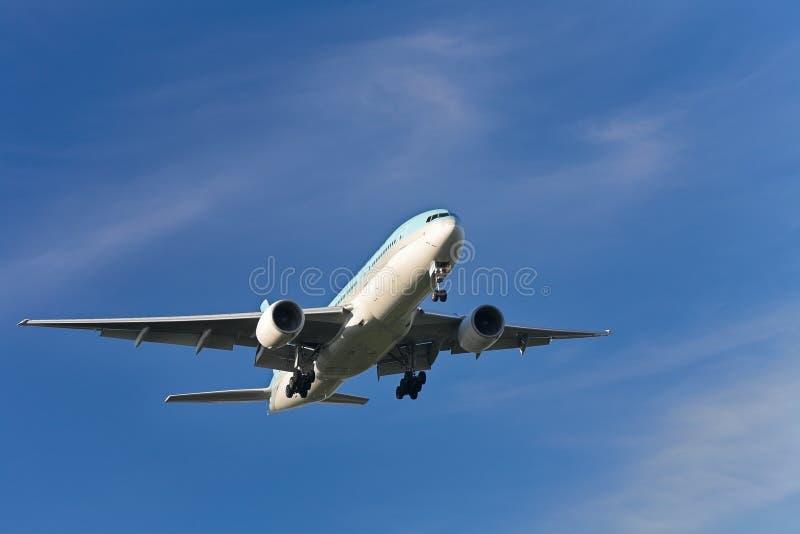 посадка самолета стоковое изображение