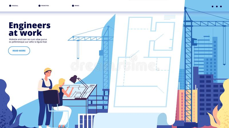 Посадка строительной конструкции Архитекторы и рабочий-строители Архитектурноакустический вектор интернет-страницы предприятия сф иллюстрация вектора