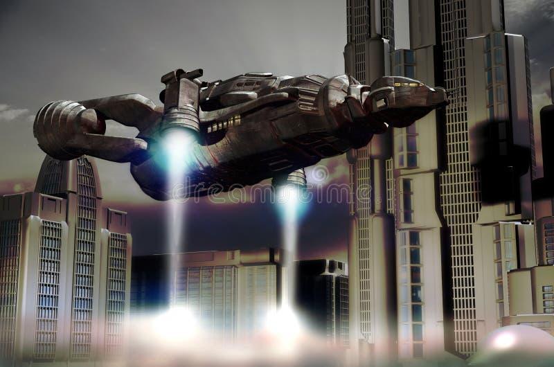 Посадка челнока в будущем городе иллюстрация вектора