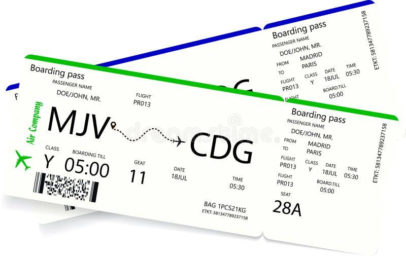 2 посадочного талона авиакомпании иллюстрация вектора