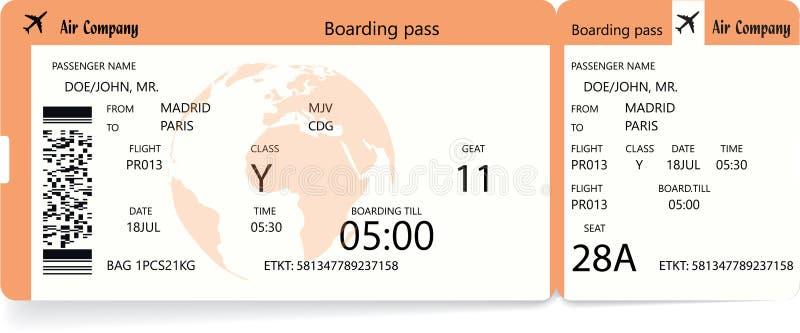 Посадочный талон авиакомпании вектора оранжевый современный иллюстрация вектора