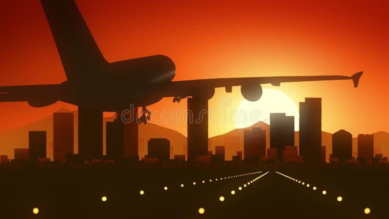 Посадка восхода солнца горизонта Альбукерке Неш-Мексико США Америки иллюстрация штока