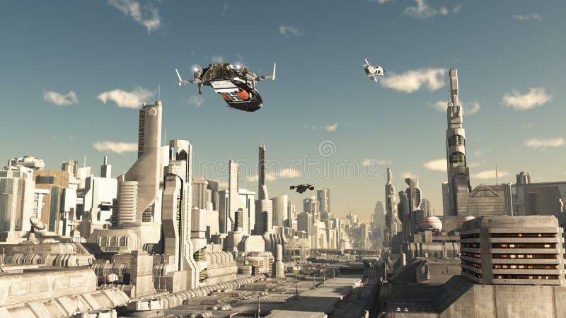Посадка корабля разведчика в будущем городе иллюстрация вектора