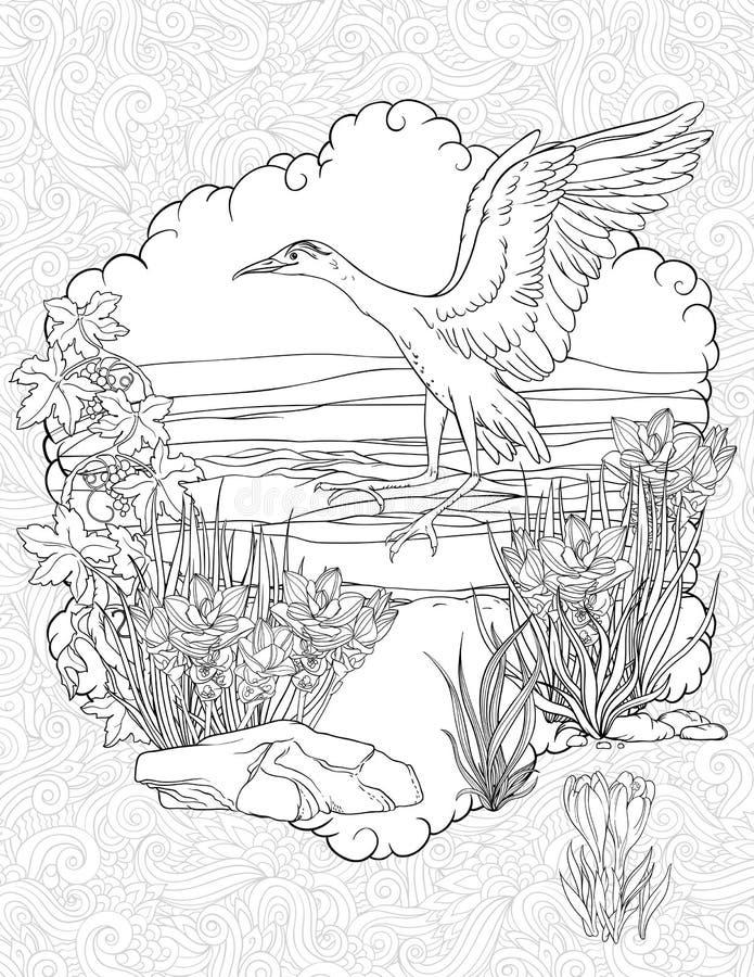 Посадка птицы в траве на реке иллюстрация штока