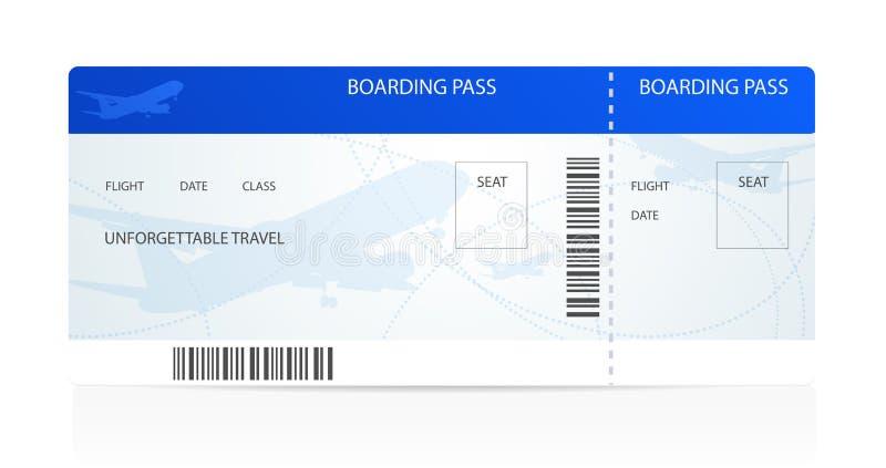 Посадочный талон (билет) с самолетом (самолет) иллюстрация штока