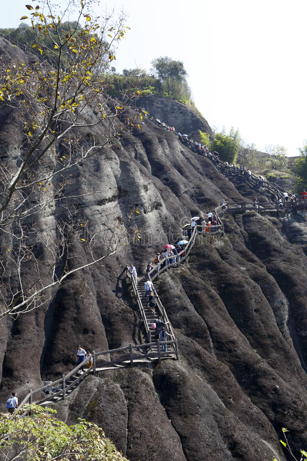 Посетители вдоль лестницы в альпинизме стоковые изображения rf