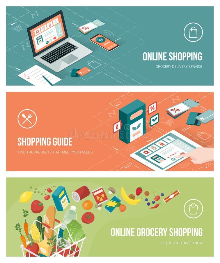 Посещение магазина бакалеи онлайн бесплатная иллюстрация